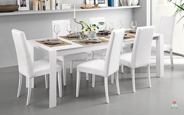 Tavolo allungabile bianco, vetro bianco - Wood a Asti in ...